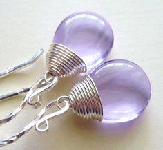 Lavender Purple Glass Earrings Handmade Wire Wrapped by JBMDesigns