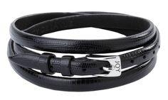 Joy de la Luz   Leather buckle bracelet Lizard black