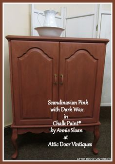Scandinavian Pink is lovely when toned with soft dark wax, Chalk Paint® by Annie Sloan at Attic Door Vintiques.