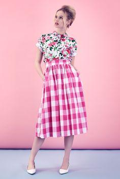 "floral and gingham | ( ""Tara Starlet | Picnic Skirt"" )"