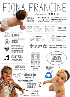 SMALL custom designed one year baby infographic, one year birthday infographic, digital file