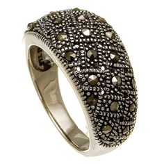 Sterling Silver Genuine Marcasite Cluster Ring $24.00