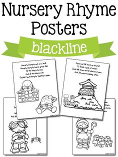 Nursery Rhyme Activities and Lesson Plans for Pre-K, Preschool, and Kindergarten. Hands-on learning ideas, activities and printables to make learning fun for your kids! Free Nursery Rhymes, Nursery Rhyme Crafts, Nursery Rhymes Preschool, Nursery Rhyme Theme, Preschool Songs, Preschool Themes, Preschool Crafts, Daycare Themes, Nursery Art