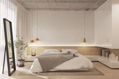 miroir-noir-matte-revetement-plafond-bois-gris-lampes-suspendues-or-meubles-blancs-sans-poingées-association-couleur-beige-tapis-vase-grise
