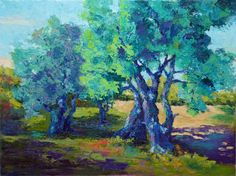 Impressionist Landscape Painting of Olive Trees Ancient Olive
