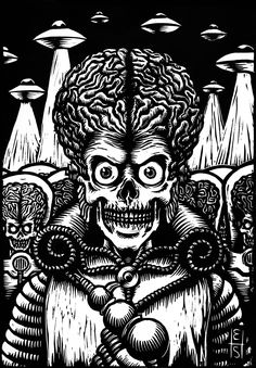 """Black and white linoleography 20 x 29 cm printed on Fabriano Rosaspina 30 x 40 cm printing paper. Illustration inspired by the film """"Mars Attacks!"""", by Tim Burton, Marilyn Monroe Artwork, Mars Attacks, Space Artwork, Horror Artwork, Dark Tattoo, Alien Art, Classic Monsters, Movie Poster Art, Psychedelic Art"""