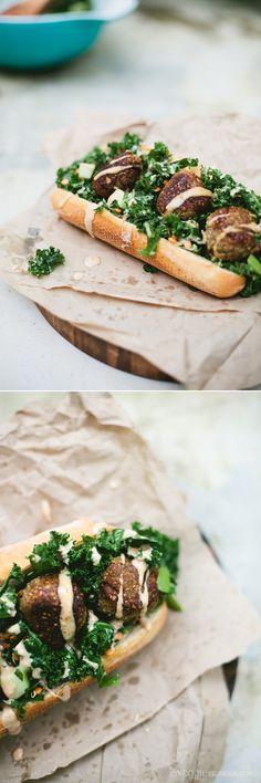 Eggplant Ball Sub w/ Kale Salad + Tahini, Harissa Sauce | Veggie num num