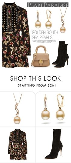 """""""Golden South Sea Pearls"""" by pearlparadise ❤ liked on Polyvore featuring Dodo Bar Or, Schutz and Burberry"""