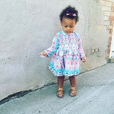 Baby girl toddler water color ikat print dress by littlelolabunny