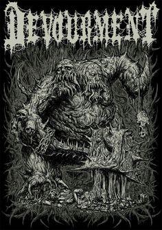 Devourment! Metal Band Logos, Metal Bands, Dark Artwork, Metal Artwork, Bloodborne Concept Art, Rock Y Metal, Black Metal, Satanic Art, Evil Art