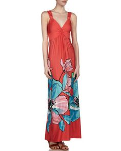Floral Print V-Neck Maxi Dress, Blue by Neiman Marcus at Last Call by Neiman Marcus.