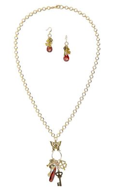 """Single-Strand Necklace and Earring Set with Cubic Zirconia Drops and Focal, Antiqued Gold-Finished """"Pewter"""" Beads and Charms and Antiqued """"Pewter"""" Focals - Fire Mountain Gems and Beads"""