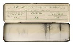 Brooks Salzwedel.   A.W. Faber No. 1 (trees), graphite, tape, and mylar in vintage tin, 4.25 x 7 inches