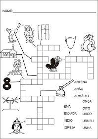 Saber e Saberes: Cruzadinhas com banco de palavras Crossword, 1, Puzzle, Writing Activities, Abc Centers, Reading Activities, Wordsearch For Kids, Crossword Puzzles, 1st Grades