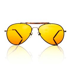 Mens Gold Aviator Frame Yellow Lens Duke by AmericanDeadstock, $15.00