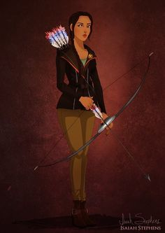 Artist Draws Disney Characters Wearing Halloween Costumes - Pocahontas as Katniss Everdeen