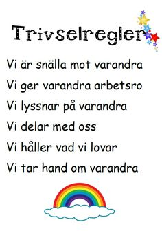 trivselregler Teacher Education, School Teacher, Pre School, Special Education, Learn Swedish, Kids Schedule, Montessori Practical Life, Educational Activities For Kids, School Hacks