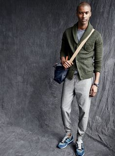 J.Crew men's Wallace & Barnes Aztec shawl cardigan, field knit striped tee, slim marled sweatpant and unisex New Balance® for J.Crew 996 sneakers. To pre-order, call 800 261 7422 or email verypersonalstylist@jcrew.com.