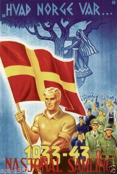 Norway Norge world war 2 propaganda poster NS Ww2 Propaganda Posters, History Posters, Japan, World War Ii, Vintage Posters, Wwii, Norway, Volunteers, Sweden