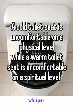 A cold toilet seat is uncomfortable on a physical level while a warm toilet seat is uncomfortable on a spiritual level