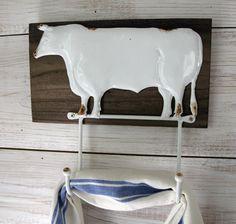 Farmhouse Decor - Cow Towel Rack and Farmhouse Style Kitchen Towel -  Farmhouse Wall Decor by FarmhouseHomeDecor on Etsy