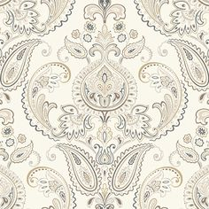 York Tasara Wall Covering by Candice Olson. This pattern has a lovely palette of colors, from soft neutrals and metallics to aquatic blues and greens. Must admit this is one of my faves! #wallpaper #york