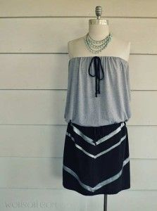 Cool DIY Fashion Ideas | Fun Do It Yourself Fashion projects | Learn how to refashion and sew jeans, T-shirts, skirts, and more | Strapless DIY Tshirt Dress | http://diyprojectsforteens.com/cool-diy-fashion-ideas/