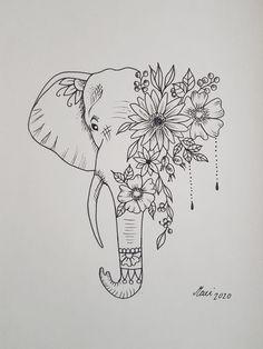 Elephant Head Tattoo, Geometric Elephant Tattoo, Mandala Elephant Tattoo, Elephant Tattoo Design, Simple Elephant Tattoo, 16 Tattoo, Tatoo Art, Tattoo Drawings, Dope Tattoos