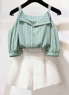 2 Piece Striped Off Shoulder Lantern Sleeve Buttons Top Wide Leg Shorts choichic… - Outfits Ideen Girls Fashion Clothes, Teen Fashion Outfits, Mode Outfits, Girl Outfits, Kawaii Fashion, Cute Fashion, Look Fashion, Korean Fashion, Trendy Fashion