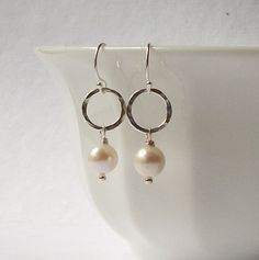 Silver and Freshwater Pearl Dangle Earrings Pearl by PeriniDesigns, $21.00
