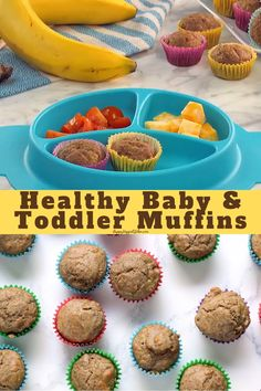 Delicious banana cinnamon muffins for babies, toddlers and kids! These are entirely fruit sweetened (no sugar) and use a blend of whole wheat and oat flours. Healthy Toddler Muffins, Healthy Baby Food, Healthy Toddler Meals, Kids Meals, Meals For Babies, Healthy Meals For Toddlers, Homemade Toddler Snacks, Toddler Dinners, Baby Meals