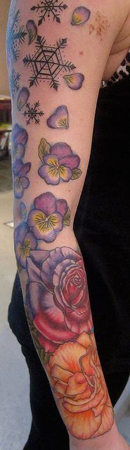 Rose, Carnation, Violets tattoo by Suzanna Fisher. Like the bottom half best