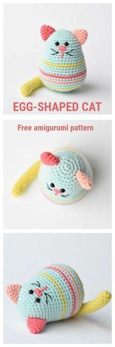 EGG-SHAPED CAT Free amigurumi pattern by lilleliis #amigurumi #pattern #crochet