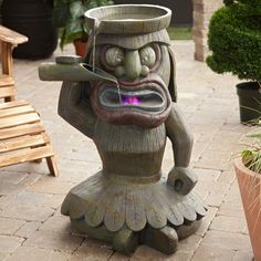 Too funny - King Luau Water Fountain Tropical Backyard, Backyard Paradise, Paradise Cove, Tiki Decor, Outdoor Decor, Outdoor Furniture, Feng Shui, Tiki Art, Tiki Tiki