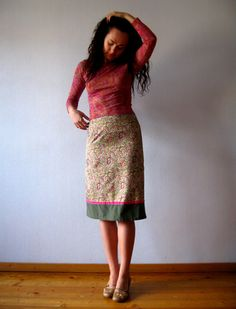 Olive Green Pink Paisley Pencil Skirt High Waisted
