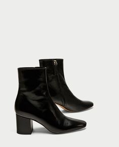 ZARA - WOMAN - LEATHER HIGH HEEL ANKLE BOOTS