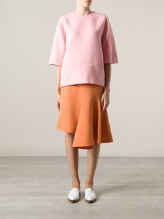 Shop MARNI asymmetric midi skirt from Farfetch