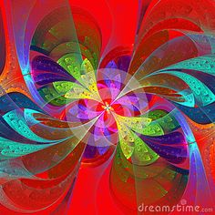 Multicolor Beautiful Fractal Flower On Orange Background. Comput - Download From Over 27 Million High Quality Stock Photos, Images, Vectors. Sign up for FREE today. Image: 37666369