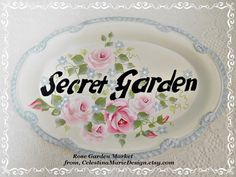Secret Garden Small Oval Metal Tray Sign by CelestinaMarieDesign