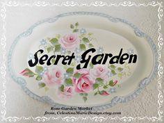 Secret Garden Small Oval Metal Tray Sign by CelestinaMarieDesign