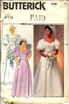 """Butterick 4766: Misses' Bridal Gown Pattern, Size 10. Pattern is cut, missing Piece 2 Shoulder Band easily drafted. Envelope in fair vintage condition.1978. Fitted, flared gowns have self lined bodice, back zipper, waist gathers, self bow trim, one or two piece sleeves and wrist loop. View A, B have chapel back. Button and thread loop at View A sleeve and back neck. Purchased lace trim. Size 10: Bust 32 ½"""", Waist 25"""", Hip 34 ½"""""""