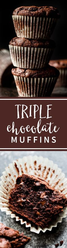 These are the BEST chocolate muffins! They taste like dessert for breakfast. Muffin recipe on sallysbakingaddiction.com