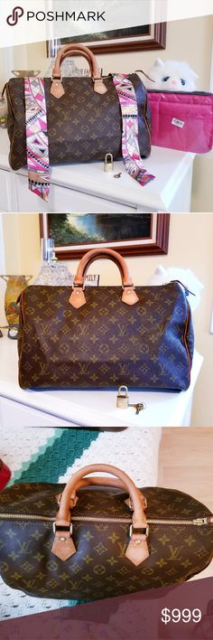 💯% Authentic Speedy 35 Gorgeous speedy is in good condition and very roomy. Some stains on inside bag. Zipper works well. Comes with lock and key, twillies, and organizer. Happy Poshing 😍 Louis Vuitton Bags Satchels