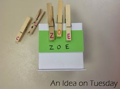 Name recognition activity. {An idea on Tuesday}