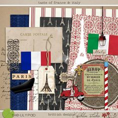 Taste of France & Italy | Digital Scrapbooking Kit - Perfect for magical Disney Epcot layouts or travel around the world!!