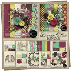 Borrowed Time {Bundle} Torn Paper, Free Digital Scrapbooking, Project 365, Vintage Ephemera, Journal Cards, Flourish, Word Art, The Borrowers, Swirls