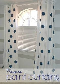 How to paint curtains. A really inexpensive way to add a ton of spunk to a kid's bedroom.