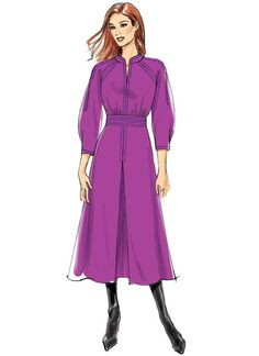 Lisette for Butterick dress sewing pattern. B6482 Misses' Raglan Sleeve Dress with Contrast Topstitching