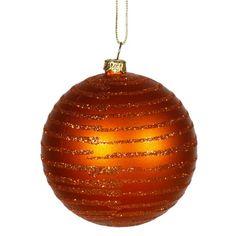 Burnt Orange Glitter Striped Shatterproof Christmas Ball Ornament