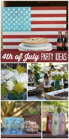 A delicious backyard 4th of July party with apple and cherry pie and caramel apples! See more party ideas at CatchMyParty.com!